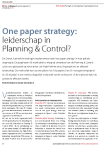 A3 METHODIEK: ONE PAPER STRATEGY – LEIDERSCHAP IN PLANNING EN CONTROL